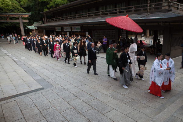 Wedding procession at a Shinto temple