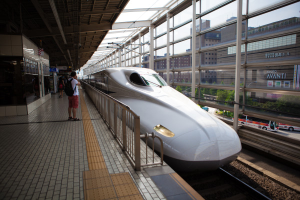 The front of our Shinkansen (bullet train)
