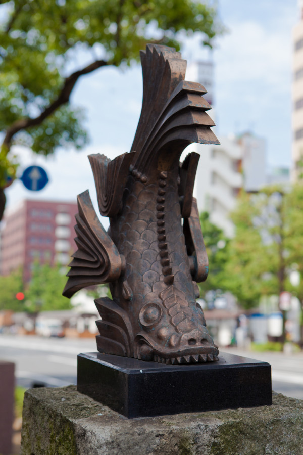 A mythical tiger-headed fish called kinshachi used atop the castle towers as a talisman for fire prevention