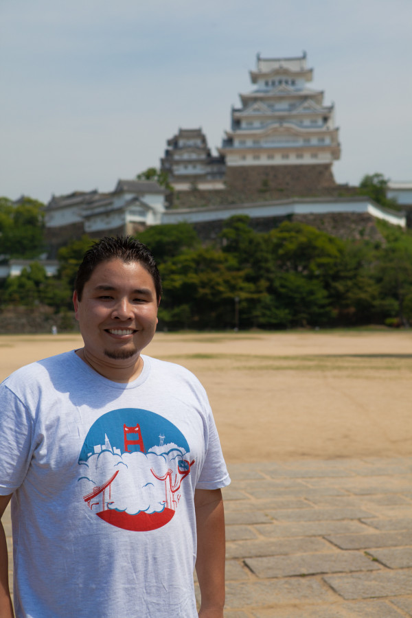 Andrew in front of Himeji Castle