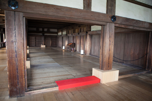 The inside of Himeji Castle which is impressively almost all made of wood