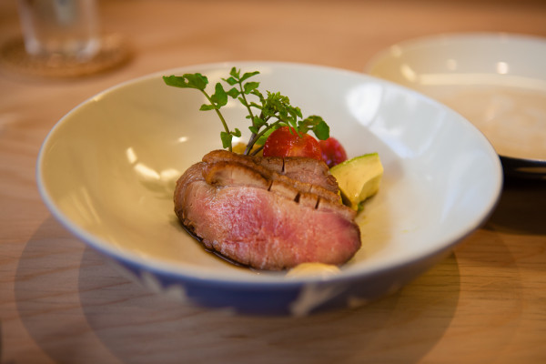 Our favorite...smoked cold duck with a tomato and avocado salad with onion dressing