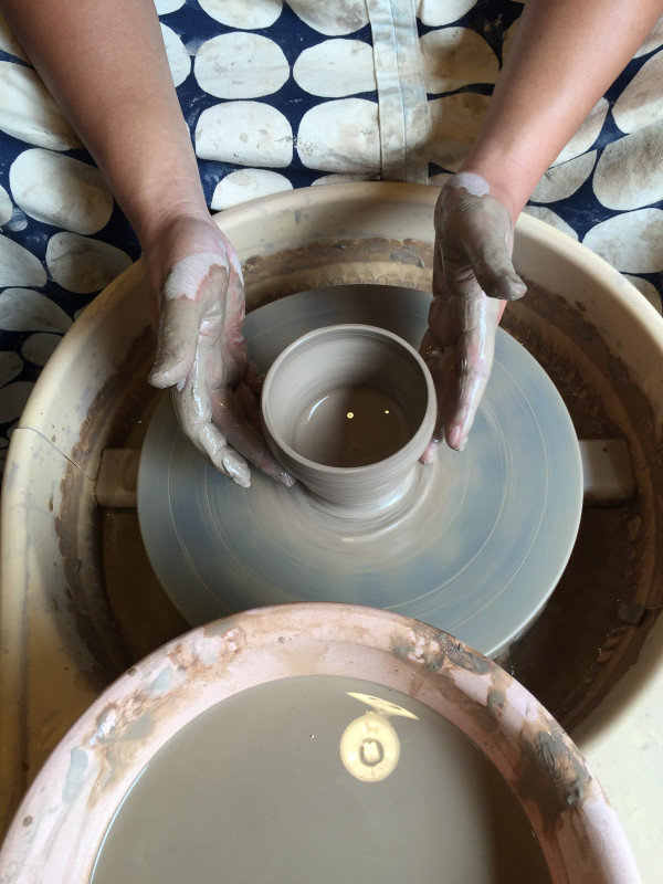 Andrew at the pottery wheel