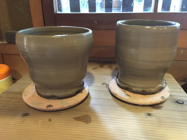 Our finished cups, ready for firing and glazing