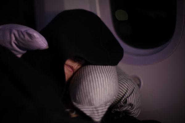 She nearly slept the whole flight!